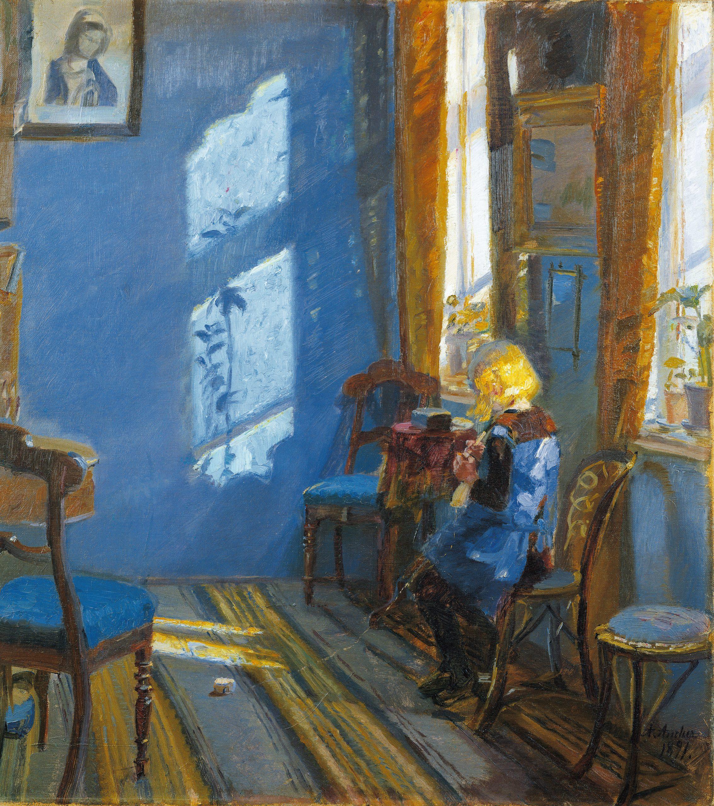 Maleri af Anna Ancher, Solskin i den blaa stue, Skagens Kunstmuseer